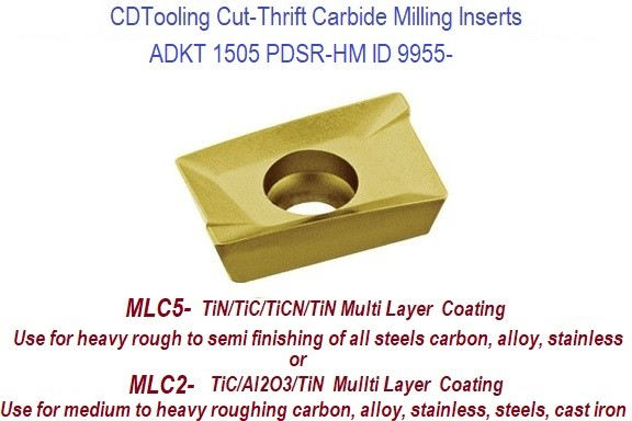 ADKT 1505 PDR-HM Cut-Thrift Multi Layer Coated Carbide Inserts General Purpose Milling 10 Pack ID 9955-