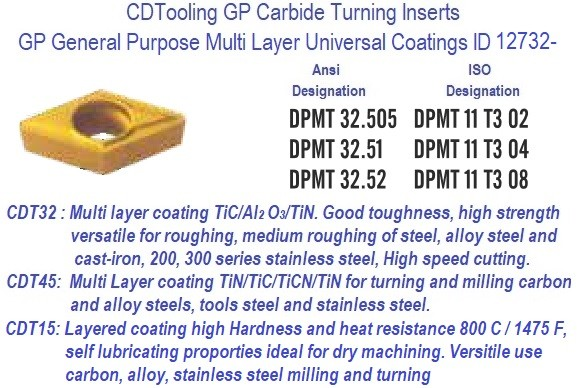 DPMT 32.505, DPMT 32.51, DPMT 32.52GP Grade Indexable Carbide Inserts 10 Pack ID 12733-