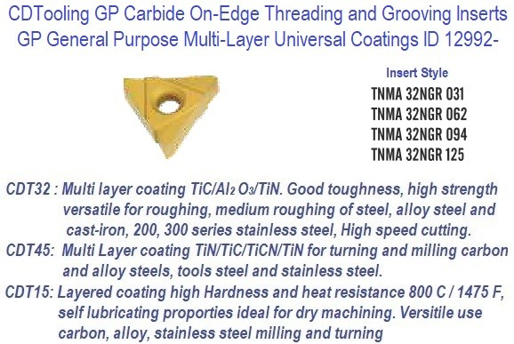 TNMA-, 32NGR, 031, 062, 094, 125 - GP Grade Indexable Carbide Inserts 10 Pack ID 12992-