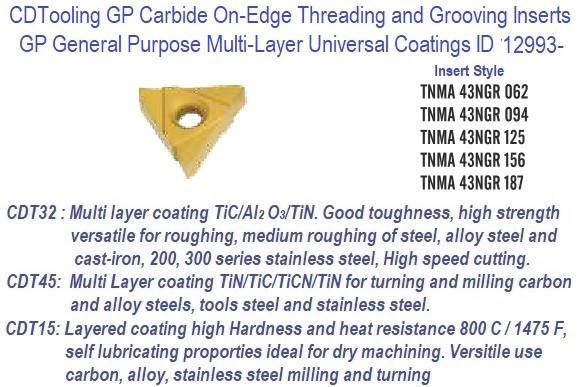 TNMA-, 43NGR, 062, 094, 125, 156, 187 - GP Grade Indexable Carbide Inserts 10 Pack ID 12993-