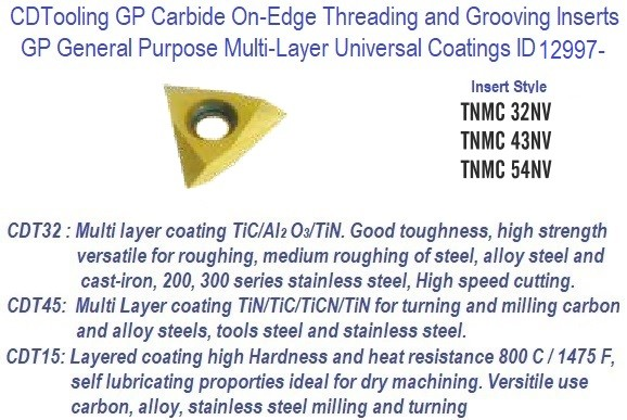 TNMC -, 32NV, 43NV, 54NV - GP Grade Indexable Carbide Inserts 10 Pack ID 12997-