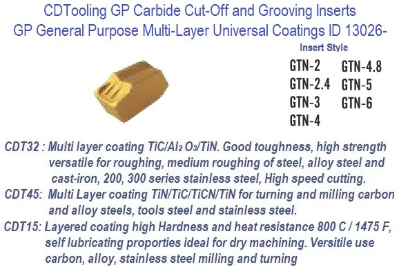GTN -, 2, 2.4, 3, 4, 4.8, 5, 6 - GP Grade Indexable Carbide Inserts 10 Pack ID 13026-