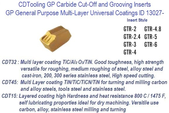 GTR -, 2, 2.4, 3, 4, 4.8, 5, 6 - GP Grade Indexable Carbide Inserts 10 Pack ID 13027-
