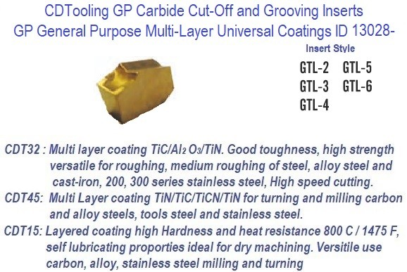 GTL -, 2, 3, 4, 5, 6 - GP Grade Indexable Carbide Inserts 10 Pack ID 13028-