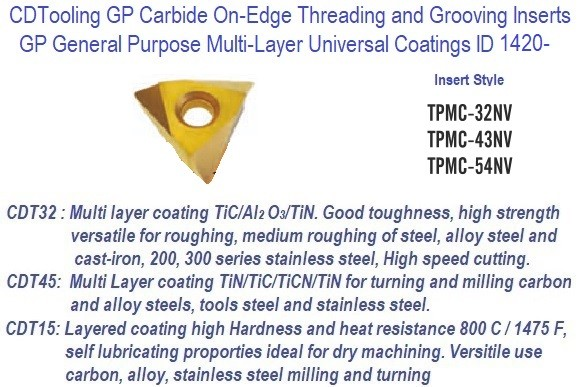 TPMC -, 32NV, 43NV, 54NV - GP Grade Indexable Carbide Inserts 10 Pack ID 1420-