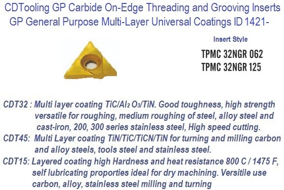TPMC -, 32NGR, 062, 125 - GP Grade Indexable Carbide Inserts 10 Pack ID 1421-