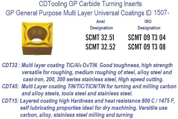 SCMT 32.51 SCMT 32.52 GP Grade Indexable Carbide Inserts 10 Pack ID 1507-