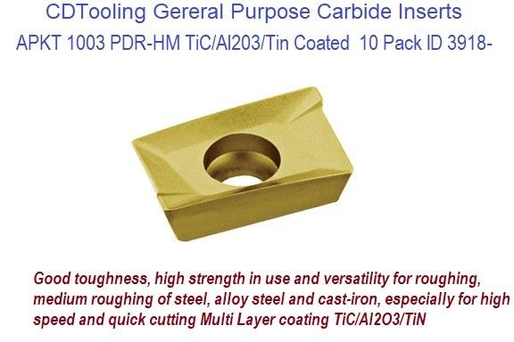 APKT 1003 PDR-HM TiC/Al203/Tin Coated  Carbide Inserts General Purpose Milling 10 Pack ID 3918-