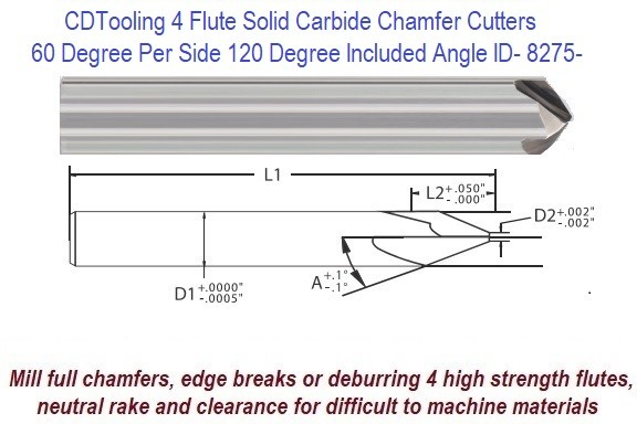 60 Degree per Side, 120 Degree Included Angle Solid Carbide 4 Flute Chamfer End Mill ID 8275-