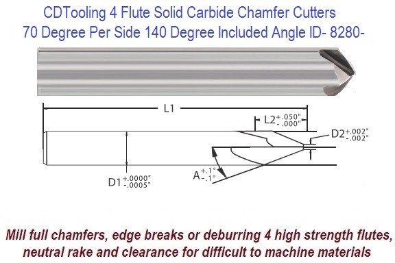 70 Degree per Side, 140 Degree Included Angle Solid Carbide 4 Flute Chamfer End Mill ID 8280-