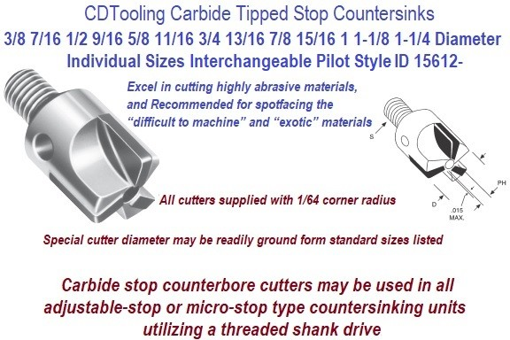 Aircraft Series Carbide Tipped Stop Counterbore 3/8 to 1-1/4 Diameter Threaded Shank ID 15612-