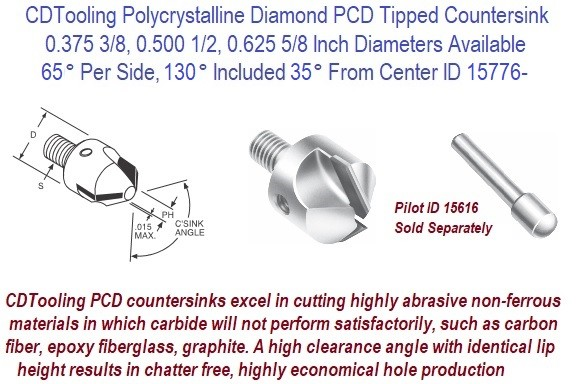 65 Per Side, 130 Included 35 From Center, Degree, Polycrystalline Tipped Diamond PDC Tipped Interchangeable Pilot Stop Countersink ID 15776-