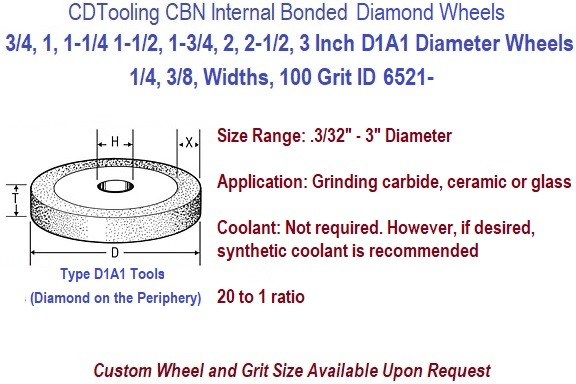 D1A1 Internal Bond Diamond Resin Bond Grinding Wheels 3/4,1,1.25, 1.5, 1.75, 2, 2.5, 3 Inch Diameters ID 6521-