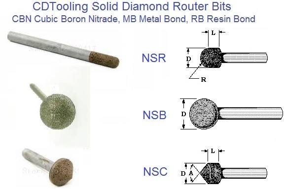 Solid Diamond, CBN Router Bits DWC 60, 90 Degree Cone, DWR Ball Nose, NSB Full Ball Resin Metal CBN