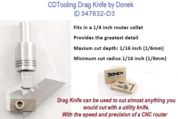 Drag Knife for Materials up to .0625 1/16 Thick, Fits in 1/4 Inch Collet ID 347632-D3