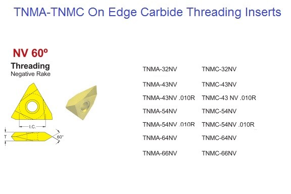 TNMA, TNMC, 32, 43, 54, 66, NV On Edge Carbide Threading Inserts ID 1416-
