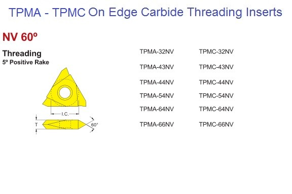 TPMA, TPMC, 32, 43, 54, 66, NV On Edge Carbide Threading Inserts