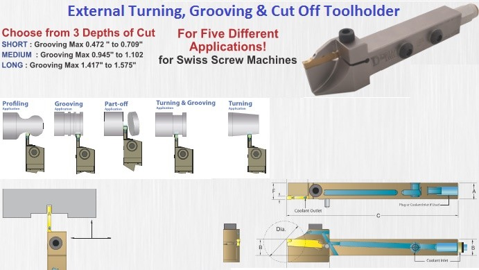 Indexable External Turning, Grooving and Cut Off Tooiholders For Screw Machines Coolant Through