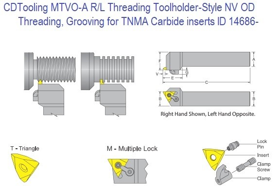 CDTooling MTVO-A R-L Threading Toolholder- Style V OD Threading Grooving for TNMA - NV - NG Carbide inserts ID 14686-