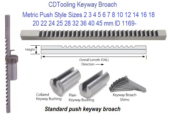 "1//4/"" C Push Type Keyway Broach Inch Size HSS for CNC Tool"