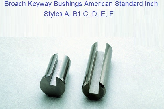 Broach Keyway Bushings Style A, B1, C, D, E, F Inch Sizes 1/4 - 3 inch ID 1171-