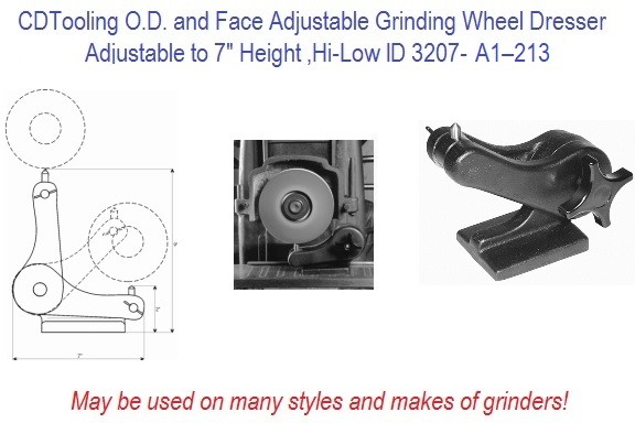 O.D. and Face Adjustable Grinding Wheel Dresser Hi-Low ID 3207-A1–213