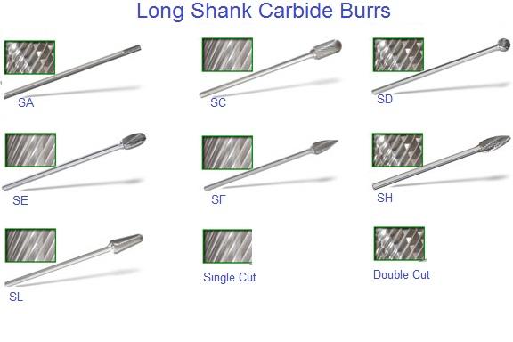 1//4 x 3//8 x 3//8 x 6 3//8 SD-3L6 Ball Shape Carbide Burr Single Cut