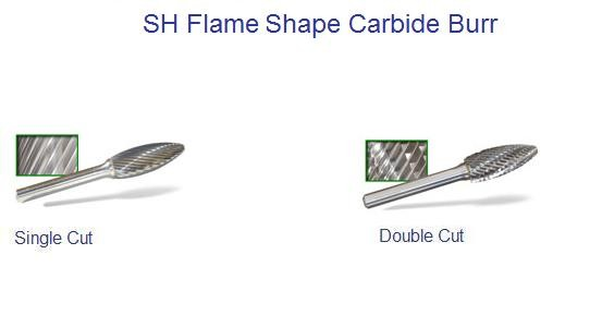 SH-1, SH-2,SH-5,SH-6,SH-7, DC Double,SC Single Cut  Flame Shape Carbide Burrs