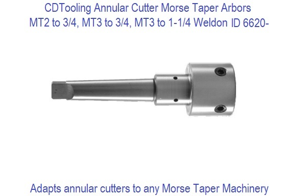 Annular Cutter Cutters Arbor With Morse Taper MT2 For 3//4 Inch Weldon Shank /""