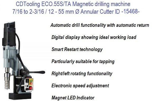 Magnetic Drilling Machine  7/16 to 2 3/16 Inch Annular Cutter Capacity Automatic Drill, Reverse and Tapping ID 15468-ECO.55S/TA