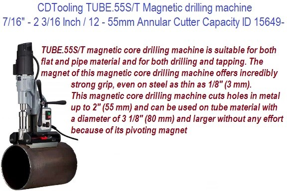Magnetic Drilling Machine  7/16 to 2 3/16 Inch Annular Cutter Capacity Automatic Drill, Reverse and Tapping with Tube Base ID 15469-ECO.55/ST