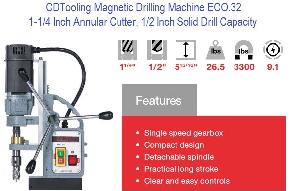ECO.32 Magnetic Drill 1-1/4 Annular Capacity, 1/2 Drill Bit Compact and Powerful Series 2653