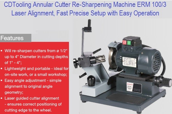 Annular Cutter Re-Sharpening Machine 1/2 to 4 Inch Capacity ERM 100/3 Series 2662