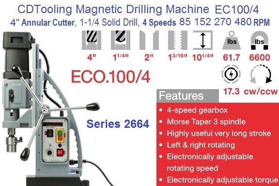 EC0100/4 Magnetic Drilling, Tapping Machine 4 Inch Capacity 4 Speed MT4 Series 2664