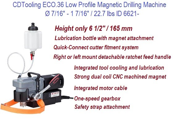 Low Profile Magnetic Drilling Machine, Mag Drill 1-7/16 36 mm Annular Cutter Capacity, Right Angle ID 6621-ECO.36