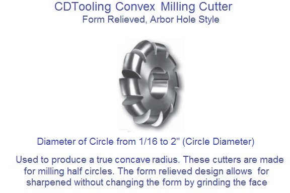 Convex Radius Milling Cutter 1/16 to 2 Inch Circle Diameter High Speed Steel ID 1702-