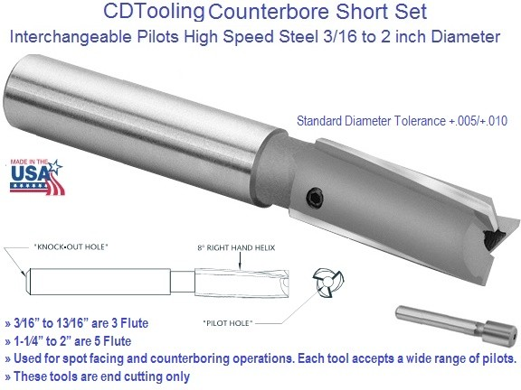 Counterbore Interchangeable Pilot Straight Shank High Speed Steel 0.187 3/16 to 3 Inch Diameter ID 1703-
