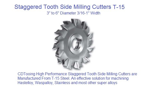 Milling Cutter Straggared Tooth Side Milling Cutter T15 Cobalt 3