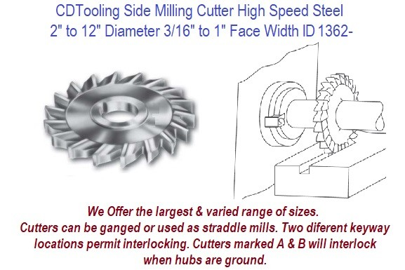 Milling Cutters Side Straight Tooth HSS 2 to 12 Inch Diameter 3/16 to 1-1/2 Inch Wide ID 1362-