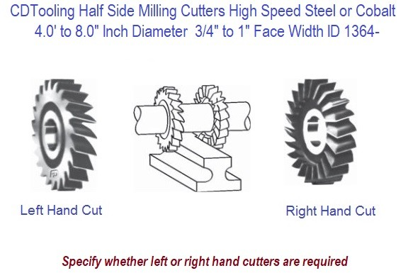 Half Side Milling Cutters Left and Right Hand HSS and Cobalt 4 to 8 Inch Diameter 7/16 to 1 Inch Width ID 1364-