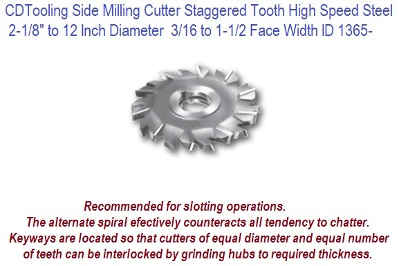 Milling Cutters Staggered Tooth HSS Range 2-1/8 to 12 Diameter, 3/16 to 1-1/2 Inch Wide ID1365-