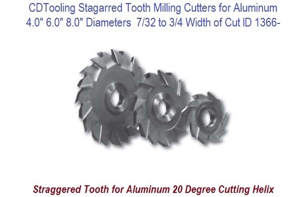 Staggered Tooth Milling Cutter for Aluminum 4, 6, 8, Inch Diameter 7/32 to 3/4 Inch Width ID 1366-