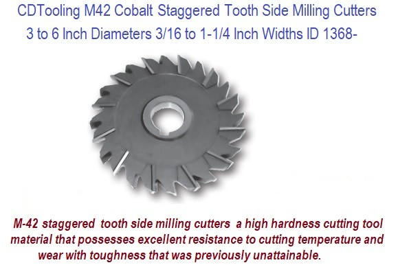 Staggered Tooth Side Milling Cutter M42 Cobalt 3 to 6 Inch Diameter .187 to 1.500 Width ID 1368-