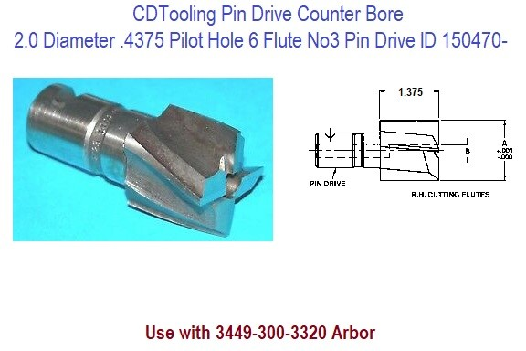 Counterbore Pin Drive High Speed Steel 2.0 Inch Diameter 100-3300 ID 150470-