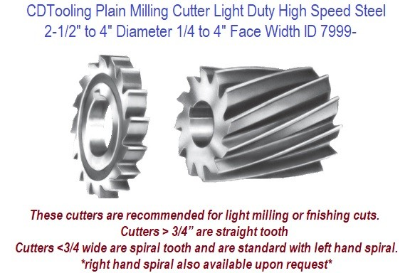 3 Width of Face 2 1//2 Diameter F/&D Tool Company 10520-A138 Plain Milling Cutter Light Duty 1 Hole Size High Speed Steel