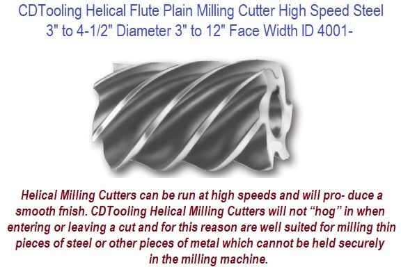 Plain Milling Cutter Helical Flute High Speed Steel 3 Inch to 4-1/2 Inch Diameter 3 to 12 Inch Face Width ID 8001-