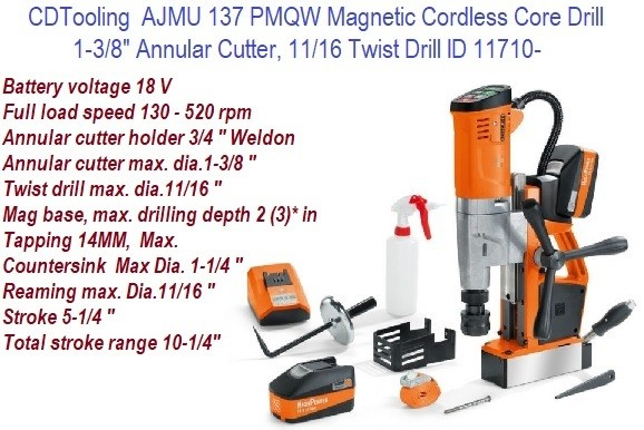 Cordless Magnetic Drill Press 1.375  Annular Cutter Capacity AJMU 137 ID 11710-