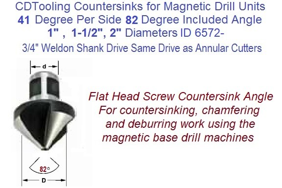 41 Per Side, 82 Degree Included Angle Countersink 3/4 Weldon Shank For Mag Drills 1, 1-1/2, 2 Inch  Diameter ID 6572-