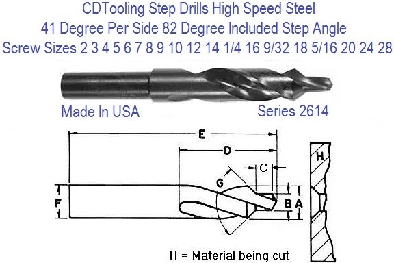 Step Drill 82 Degree Included Step Angle 3/16 - 3/4, 2-24 Screw Sizes Series 2647