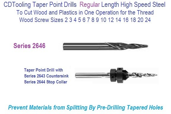 Taper Point Drills Sizes Regular Length for Wood Screw Pre-drill Screw Sizes 2 to 18 List 201 Series 2646-